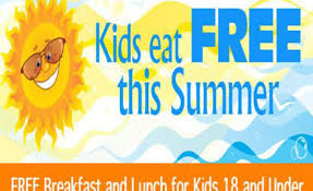 Free Breakfast and Lunch for Children!!!!  From July 6 - August 7 any child 18 and younger can come to the LCS Cafeteria between 8:00 am and 9:00 am or 11:30 am and 12:30 pm for free meals.